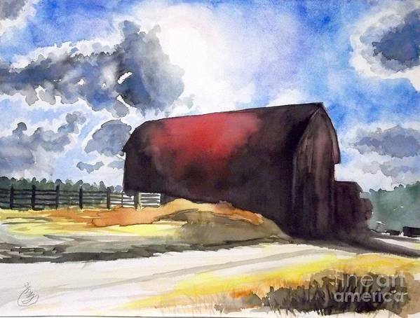 Landscape Art Print featuring the painting On The Macon Road. - Saline Michigan by Yoshiko Mishina