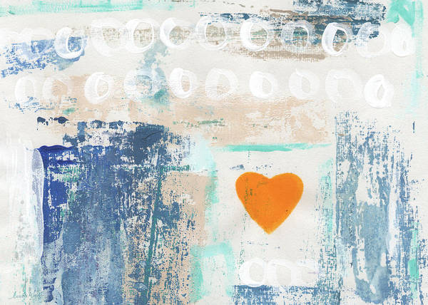 Heart Art Print featuring the painting Orange Heart- abstract painting by Linda Woods