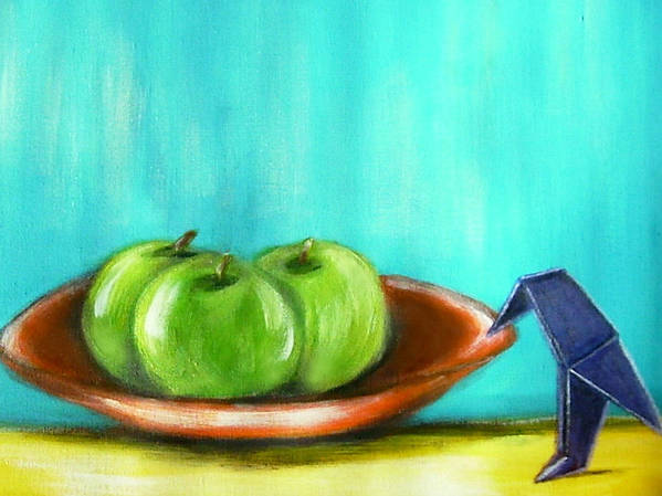 Still Life Art Print featuring the painting Origami Bird And Apples by Joseph Ferguson