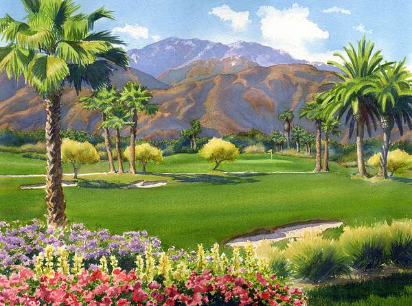 Golf Art Print featuring the painting Palm Springs Golf Course with Mt San Jacinto by Mary Helmreich