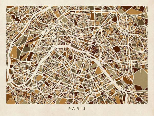 Paris Art Print featuring the digital art Paris France Street Map by Michael Tompsett