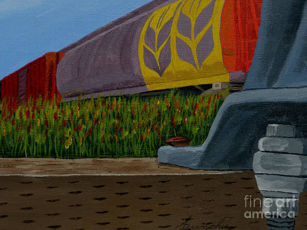 Train Art Print featuring the painting Passing The Wild Ones by Anthony Dunphy