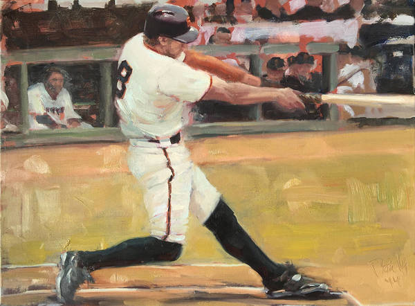 Hunter Pence Art Print featuring the painting Pence 2014 by Darren Kerr