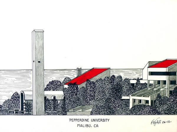 Pepperdine University Pen And Ink Drawing Art Print featuring the drawing Pepperdine University by Frederic Kohli