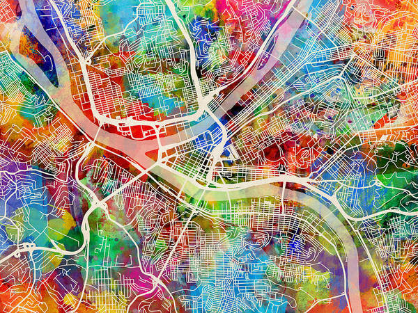 Pittsburgh Pennsylvania Street Map Art Print By Michael Tompsett