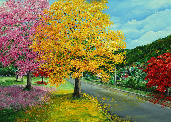 Poui Trees Art Print featuring the painting Poui In Diego by Karin Dawn Kelshall- Best