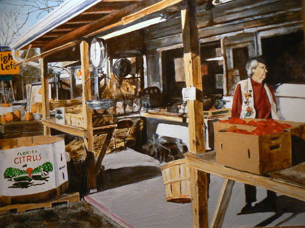 Rural Life Art Print featuring the painting Produce Market by Thomas Akers