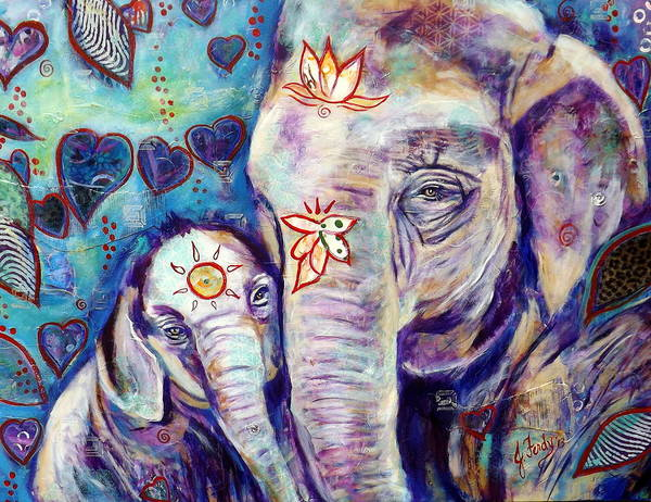 Elephant Painting Art Print featuring the painting Purest Love by Goddess Rockstar