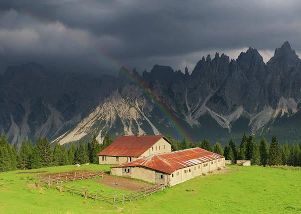 Belluno Art Print featuring the photograph Rainbow Over Casera Vedorcia Dolomites by Albertosimonetti