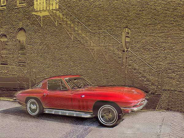 Cars Art Print featuring the mixed media Red Corvette by Steve Karol