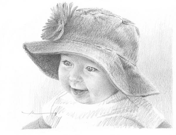 <a Href=http://miketheuer.com Target =_blank>www.miketheuer.com</a> Red Hat Baby Pencil Portrait Art Print featuring the drawing Red Hat Baby Pencil Portrait by Mike Theuer