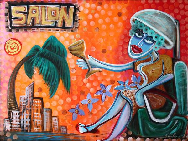 Hairdresser Art Print featuring the painting Salon by Laura Barbosa