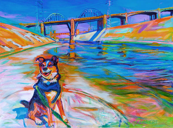 Dog Art Print featuring the painting Scout the River Guard by Bonnie Lambert
