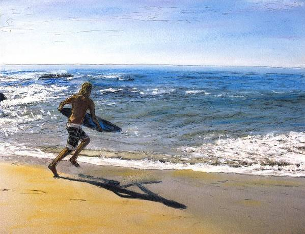 California Art Print featuring the mixed media Skim Boarding at Pearl Beach Now Sold by Randy Sprout