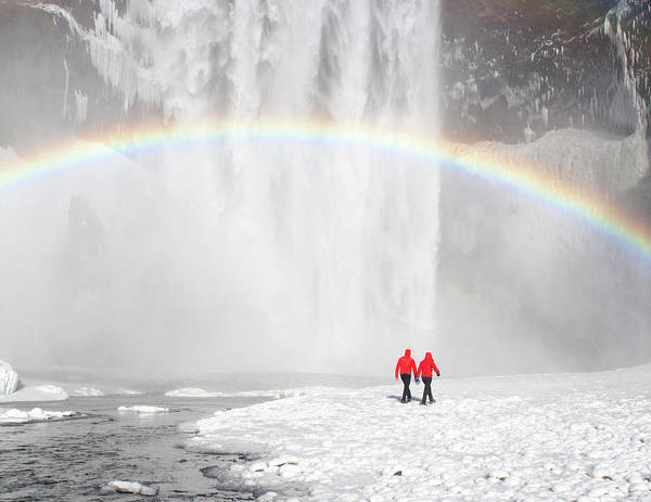 Scenics Art Print featuring the photograph Skogafoss Waterfall, Iceland by Travelpix Ltd