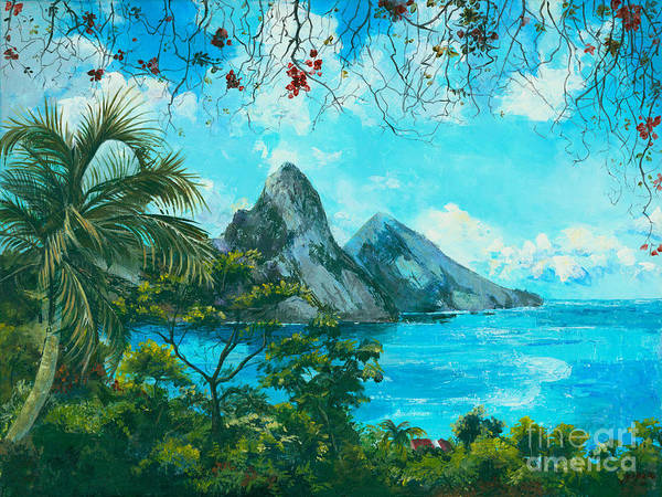 Mountains Art Print featuring the painting St. Lucia - W. Indies by Elisabeta Hermann