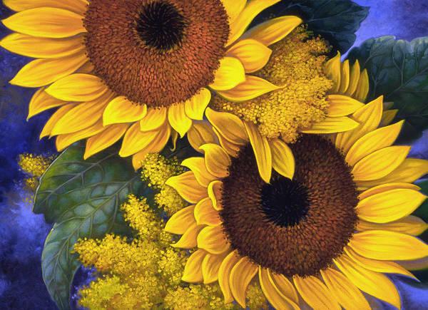 Botanical Art Print featuring the painting Sunflowers by Mia Tavonatti