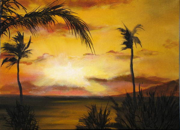 From The Maui Sunset Resort Art Print featuring the painting Sunset from the balconey by Thomas Restifo