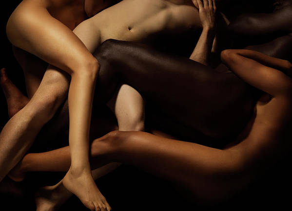 Young Men Art Print featuring the photograph Tangled Human Bodies Of Different Skin by Jonathan Knowles