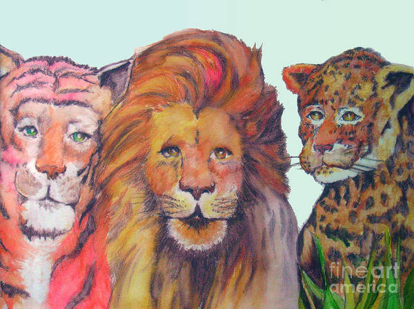 Lion Art Print featuring the painting The Big Cats by Michael D
