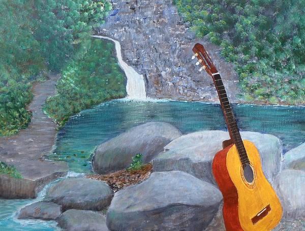 Toro Negro Rain Forest Art Print featuring the painting Toro Negro Guitar by Tony Rodriguez