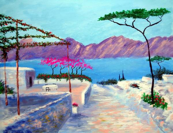 Trails Of Greece Art Print featuring the painting Trails Of Greece by Larry Cirigliano