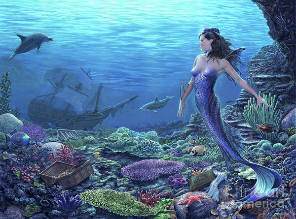 Mermaid Art Print featuring the painting Treasure of the Sea by Stu Shepherd