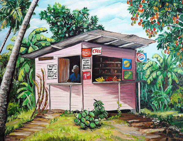 Shop Painting Art Print featuring the painting Trini Roti Shop by Karin Dawn Kelshall- Best