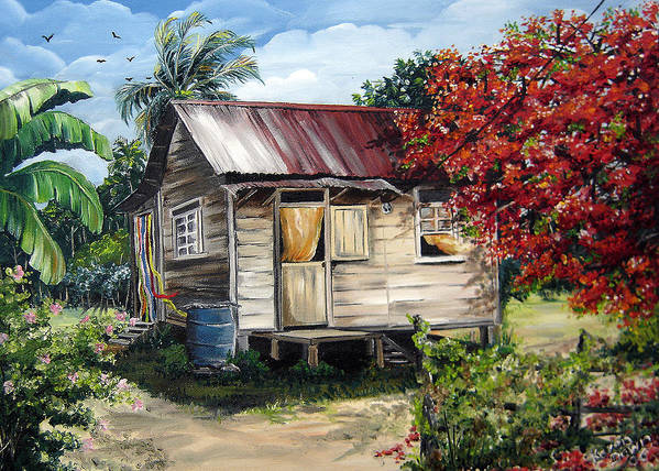 Landscape Paintings Tropical Paintings Trinidad House Paintings House Paintings Country Painting Trinidad Old Wood House Paintings Flamboyant Tree Paintings Caribbean Paintings Greeting Card Paintings Canvas Print Paintings Poster Art Paintings Art Print featuring the painting Country Life by Karin Dawn Kelshall- Best