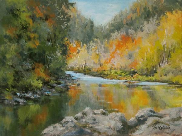 Original Art Print featuring the painting Umpqua Reflections by Karen Ilari