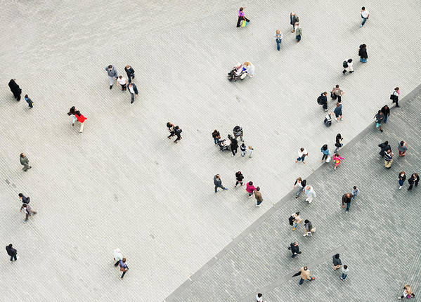 Crowd Art Print featuring the photograph Urban Crowd From Above by Georgeclerk