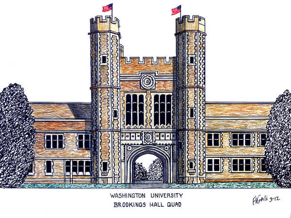 University Buildings Pen And Ink Drawings Art Print featuring the drawing Washington University St Louis by Frederic Kohli