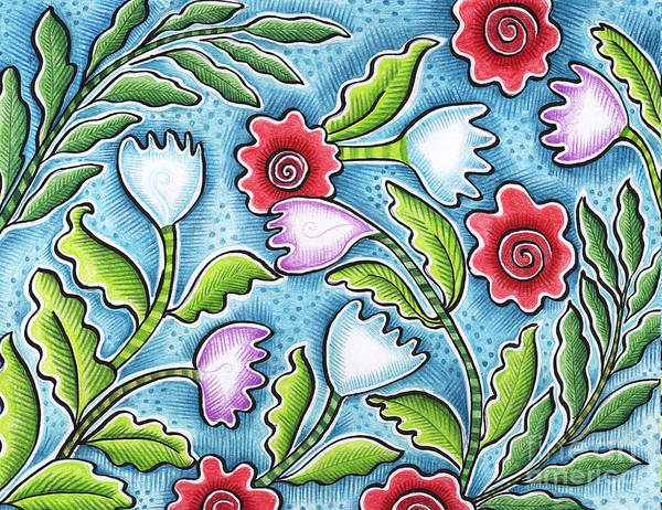 Leafy Art Print featuring the painting Wild Flowers by Elaine Jackson