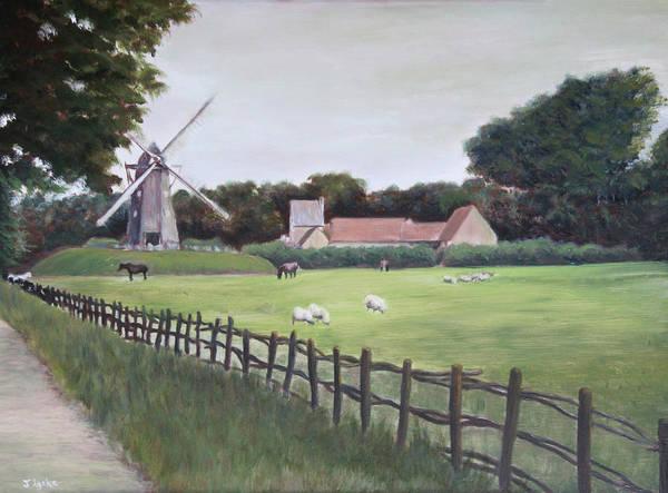 Farm Art Print featuring the painting Windmill on Farm by Jennifer Lycke