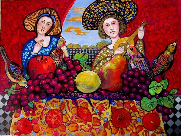 Music Art Print featuring the painting Women fruit and music by Marilene Sawaf