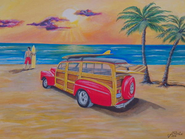 Seascape Art Print featuring the painting Woody on the beach by Jim Reale