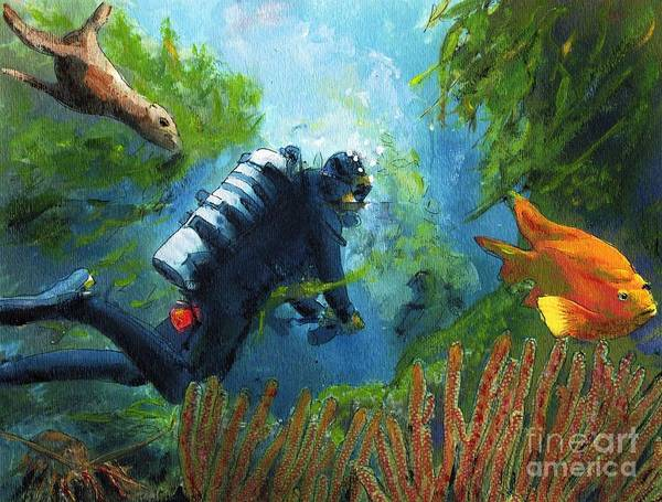 Ocean Art Print featuring the painting Zac in his Office by Randy Sprout