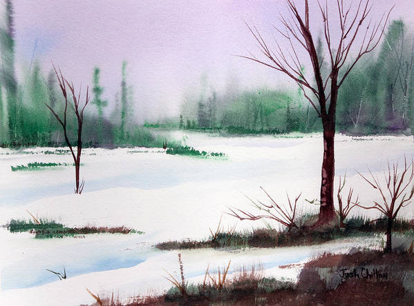 Snow Scene Art Print featuring the painting A Cold One. by Josh Chilton