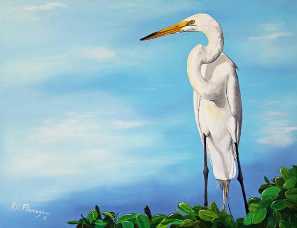 Bird Art Print featuring the painting Snowy Egret by Ruben Flanagan