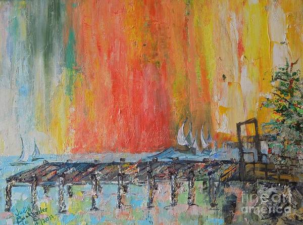 Green Art Print featuring the painting Sunrise at the Pier - SOLD by Judith Espinoza