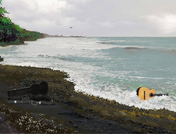 Seascape Art Print featuring the digital art Wet Guitar by Tony Rodriguez