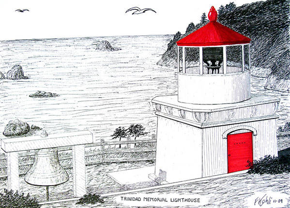 Trinidad Memorial Lighthouse Drawing Art Print featuring the drawing Trinidad Memorial Lighthouse by Frederic Kohli