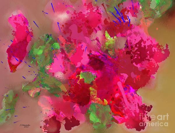 Abstract Art Print featuring the painting Abstract Bougainvillea Painting Floral Wall Art by Judy Filarecki