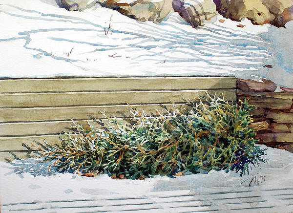 Peter Sit Watercolour Art Print featuring the painting After Christmas by Peter Sit
