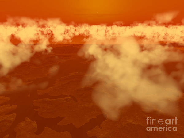 Astronomy Art Print featuring the digital art Artists Concept Of Methane Clouds by Walter Myers