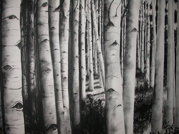 Trees Art Print featuring the painting Birch by Scott Robinson