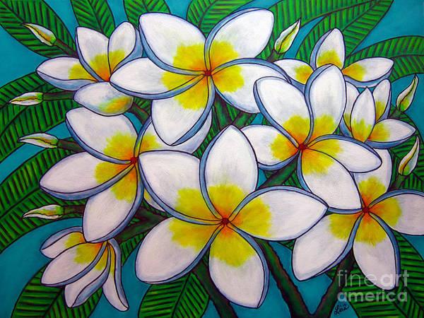 Frangipani Art Print featuring the painting Caribbean Gems by Lisa Lorenz