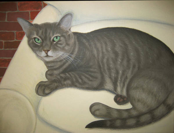 Cat Art Art Print featuring the painting Custom Painted Cat by Lana Cheng