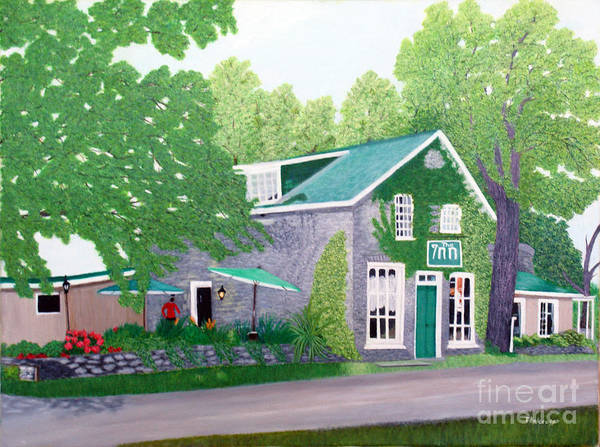 Historic Art Print featuring the painting Inn on Lake n the Mountain by Peggy Holcroft