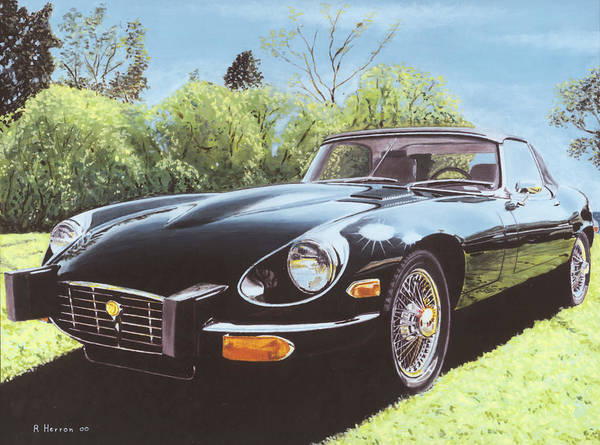 Jaguar Art Print featuring the painting Jaguar E Type III by Richard Herron